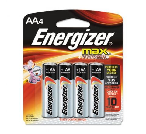 ENERGIZER E91-BP4 MAX ALKALINE AA BATTERIES, 4 PIECES PER PACK