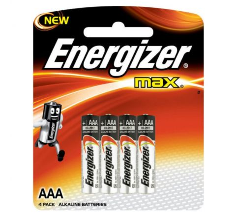 ENERGIZER E92BP4 MAX ALKALINE AAA BATTERIES, PACK OF 4