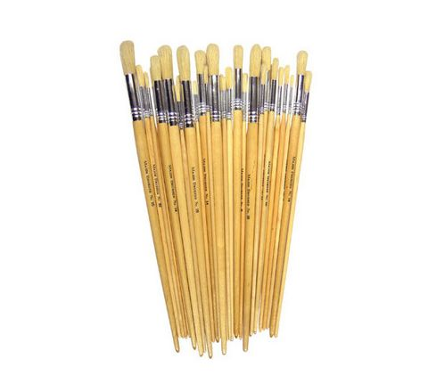 Hog Bristle Long Handle Round Brushes Class Pack Natural Pack 200