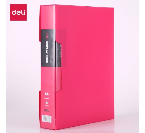 DELI-E5036-A4 DISPLAY BOOK 80 POCKETS (ASST COLOUR) W/CASE