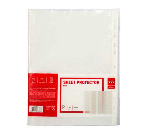 DELI E5716 A4 SIZE 11HOLE SHEET PROTECTOR 50MIC, 20 PIECES PER PACK