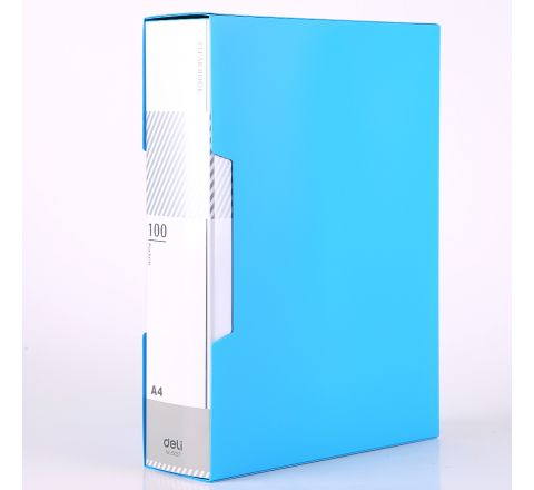 DELI E5037 A4 SIZE DISPLAY BOOK WITH 100 POCKET AND CASE, ASSORTED COLOR
