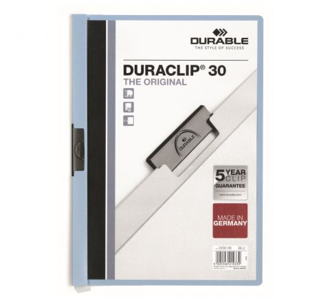 DURABLE 2200-06 DURACLIP, BLUE COLOUR, A4 SIZE, 30 SHEETS CAPACITY