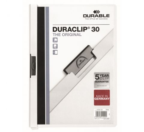 DURABLE 2200-02 DURACLIP, WHITE COLOUR, A4 SIZE, 30 SHEETS CAPACITY