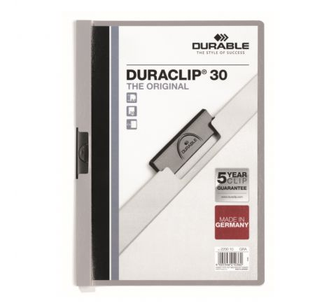 DURABLE 2200-10 DURACLIP, GREY COLOUR, A4 SIZE, 30 SHEETS CAPACITY