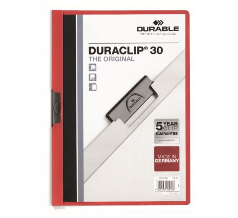 DURABLE 2200-03 DURACLIP, RED COLOUR, A4 SIZE, 30 SHEETS CAPACITY