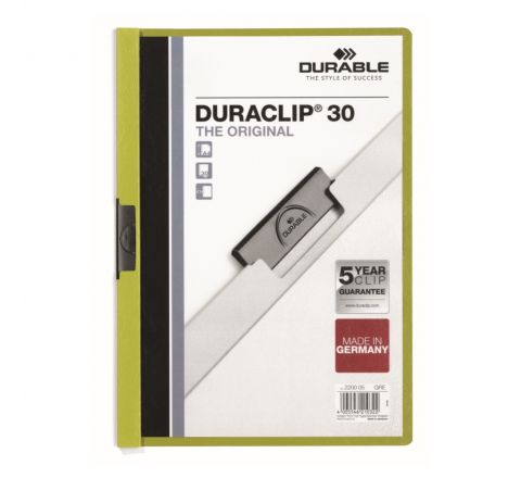 DURABLE 2200-05 DURACLIP, GREEN COLOUR, A4 SIZE, 30 SHEETS CAPACITY