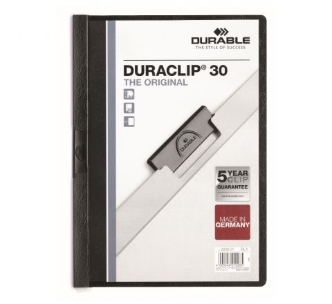 DURABLE 2200-01 DURACLIP, BLACK COLOUR, A4 SIZE, 30 SHEETS CAPACITY