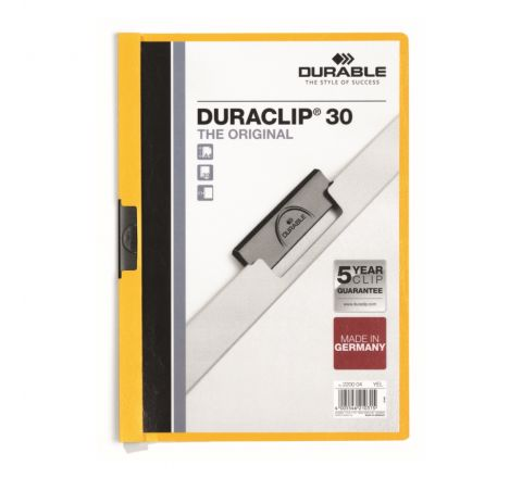 DURABLE 2200-04 DURACLIP, YELLOW COLOUR, A4 SIZE, 30 SHEETS CAPACITY