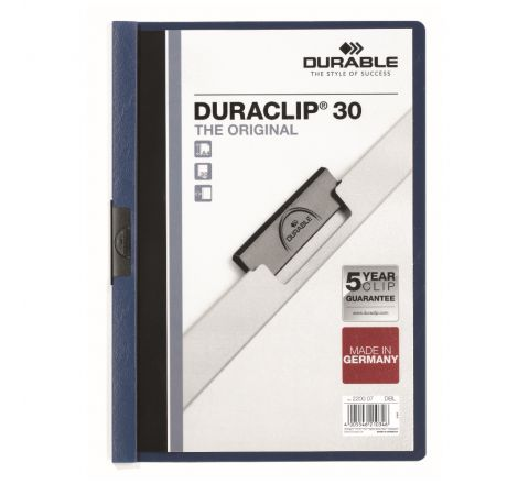 DURABLE 2200-07 DURACLIP, DARK BLUE COLOUR, A4 SIZE, 30 SHEETS CAPACITY