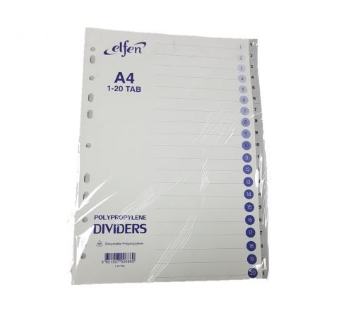 ELFEN 1020 PVC DIVIDER WITH INDEX AND NUMBERS 1 TO 20 GREY COLOUR A4 SIZE