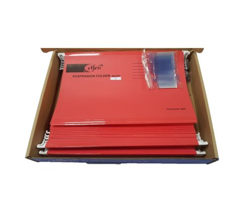 ELFEN 927 DELUXE SUSPENSION FOLDER FULLSCAPE SIZE PACK OF 50 PIECES COLOUR RED
