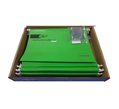 ELFEN 927 DELUXE SUSPENSION FOLDER FULLSCAPE SIZE PACK OF 50 PIECES COLOUR LIGHT GREEN