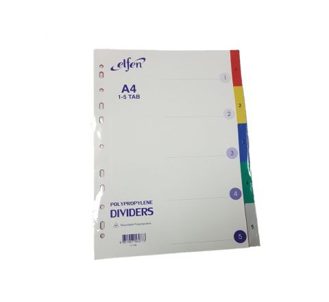 ELFEN 1105C PVC DIVIDER WITH INDEX AND NUMBERS 1 TO 5 MULTI COLOUR A4 SIZE