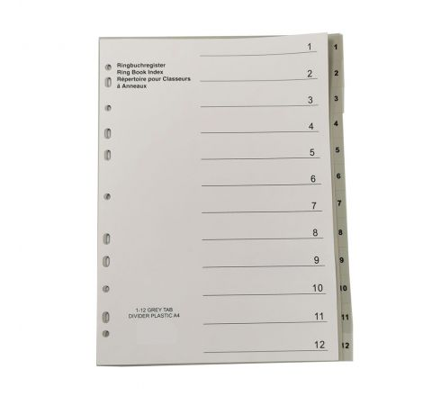 PLASTIC DIVIDER WITH 1-12 COLOUR TAB, A4 SIZE, GREY COLOR