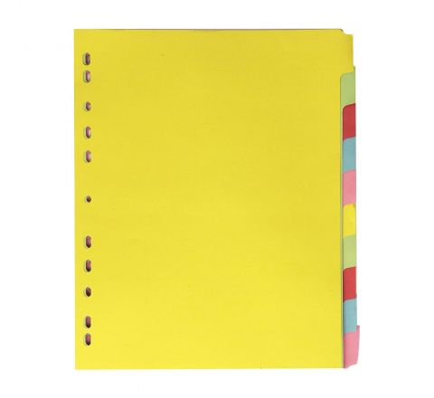 MANILA DIVIDER WITH 10 COLOUR TAB, A4 SIZE WITH NUMBER