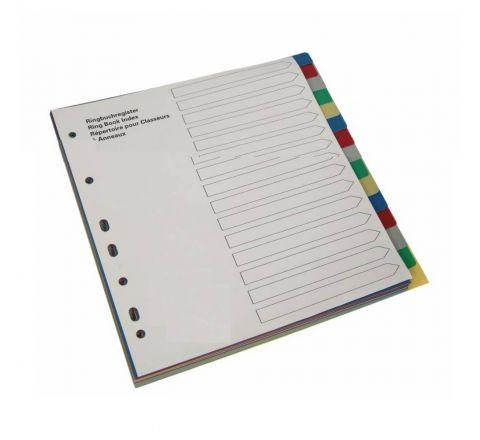 PLASTIC DIVIDER WITH 15 COLOUR TAB, A4 SIZE