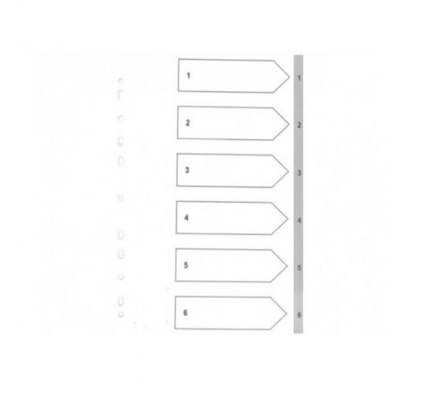 PLASTIC DIVIDER WITH 1-6 COLOUR TAB, A4 SIZE, GREY COLOR