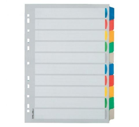 PLASTIC DIVIDER WITH 10 COLOUR TAB, A4 SIZE