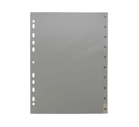 PLASTIC DIVIDER WITH 1-10 COLOUR TAB, A4 SIZE, GREY COLOR