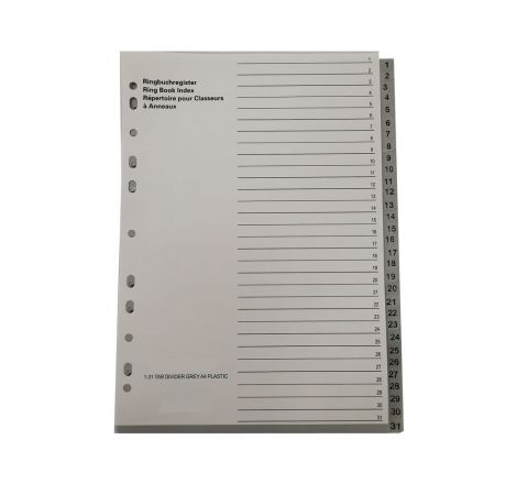 PLASTIC DIVIDER WITH 1-31 COLOUR TAB, A4 SIZE, GREY COLOR