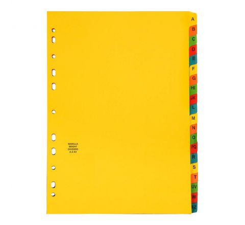 MANILA DIVIDER WITH A-Z COLOUR TAB, A4 SIZE
