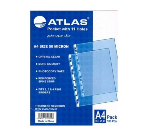 ATLAS  AS-F32438 GLASS CLEAR POCKET FOLDER, 80 MIC, A4 SIZE (100 PIECES PER PACK)