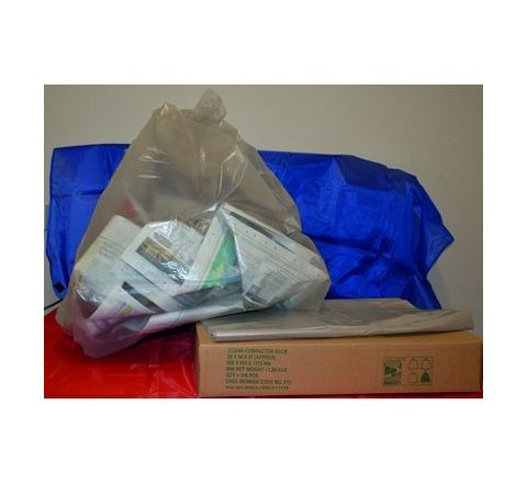 Compactor Sacks Clear, Pack 100