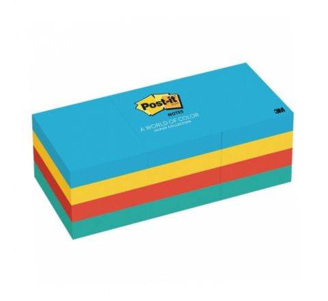 3M  653-AU POST-IT ULTRA COLOURS 12 PADS