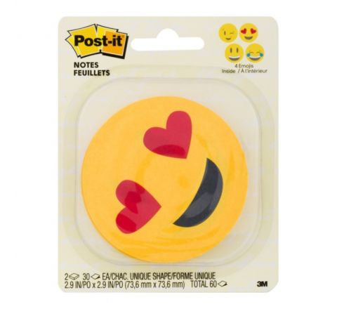 "3M POST-IT® PRINTED NOTES, 3"" x 3"", EMOJI DESIGN, 4 ALTERNATING FACES, 2 PADS/PACK, 30 SHEETS/PAD"