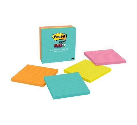 """3M POST-IT® SUPER STICKY NOTES, 4"""" x 4"""", MIAMI COLLECTION, 4 PADS/PACK, 90 SHEETS/PAD, LINED"""