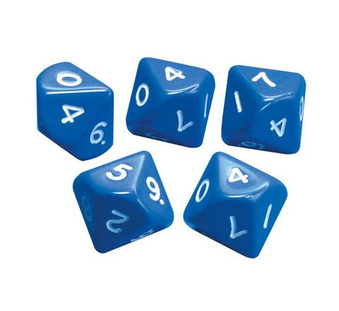 10 Sided Number Dice Numbered 0-9 Blue Pack 5