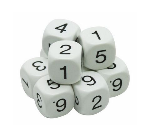 Number Dice Numbered 1-6 White/Black Pack 10