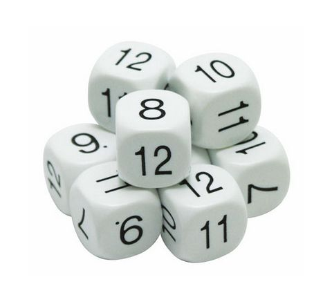 Number Dice Numbered 7-12 White/Black Pack 10