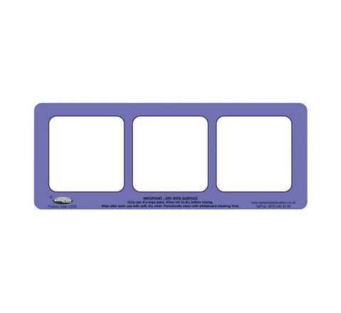 3 Section, Purple Drywipe Phoneme Frame Purple Pack 5