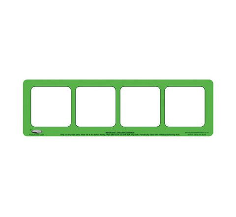 4 Section, Green Drywipe Phoneme Frame Green Pack 5