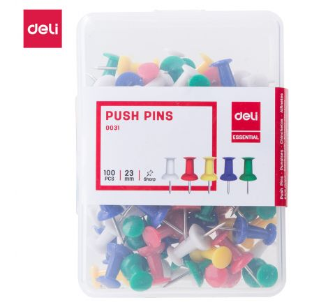 DELI-E0031-PUSH PIN COLOURED (1X100) 23 MM