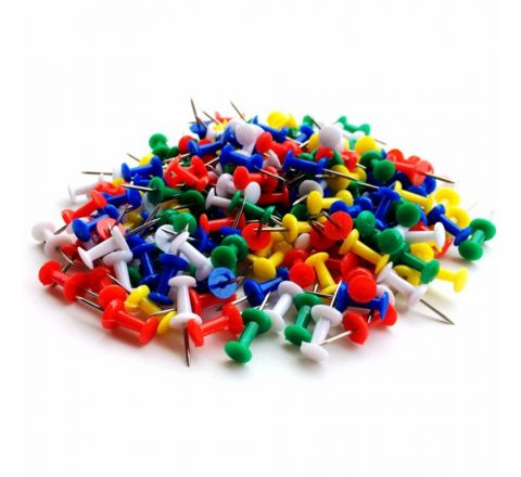 PUSH PIN ASSORTED COLOUR, 30 PIECES PER PACK