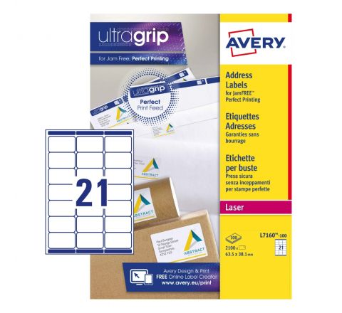 ADDRESS LABELS L7160-100 WITH ULTRAGRIP AND QUICKPEEL TECHNOLOGY, 63.5 X 38.1 MM, 21 LABELS PER SHEET, 100 SHEETS IN A PACK