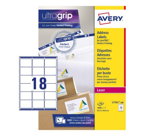ADDRESS LABELS L7161-100 WITH ULTRAGRIP AND QUICKPEEL TECHNOLOGY, 63.5 X 46.6 MM, 18 LABELS PER SHEET, 100 SHEETS IN A PACK