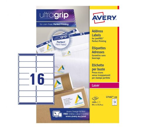 SELF ADHESIVE ADDRESS MAILING LABELS L7162-100, ULTRAGRIP TECHNOLOGY, 99.1X33.9 MM, 16 LABELS PER SHEET, 100 SHEETS IN A PACK