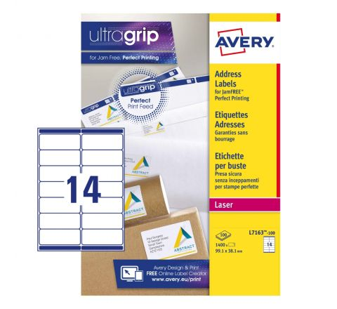 ADDRESS LABELS L7163-100 WITH ULTRAGRIP AND QUICKPEEL TECHNOLOGY, 99.1 X 38.1 MM, 14 LABELS PER SHEET, 100 SHEETS IN A PACK