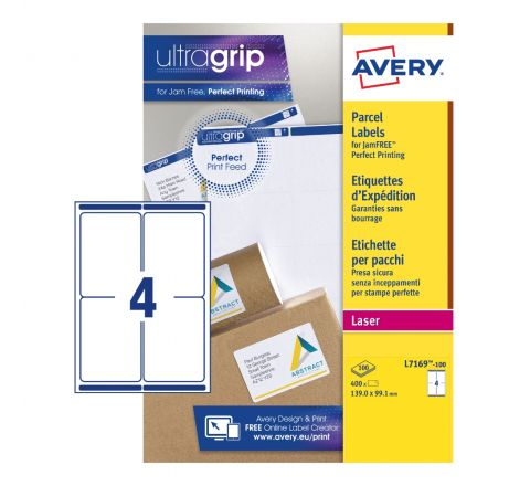 SELF ADHESIVE PARCEL SHIPPING LABELS L7169-100, 139 X 99.1 MM, BLOCK OUT TECHNOLOGY, 4 LABELS PER SHEET, 100 SHEETS IN A PACK