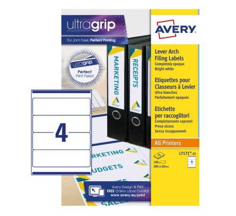 FILING LABELS L7171-25 WITH ULTRAGRIP TECHNOLOGY, 200 X 60 MM, 4 LABELS PER SHEET, 25 SHEETS IN A PACK