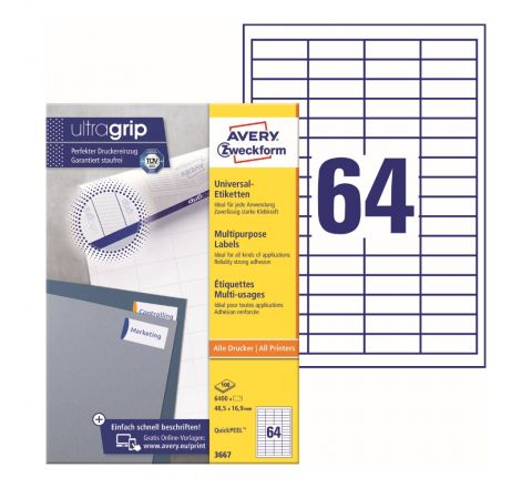 AVERY MULTIPURPOSE LABELS 3667, 48.5 X 16.9 MM, WHITE COLOR, 64 LABELS PER SHEET, 100 SHEETS IN A PACK, FOR ALL PRINTERS