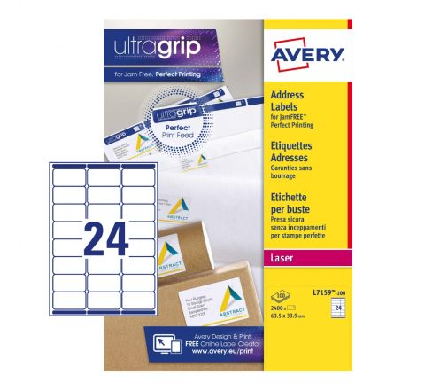 ADDRESS LABELS L7159-100 WITH ULTRAGRIP AND QUICKPEEL TECHNOLOGY, 63.5 X 33.9 MM, 24 LABELS PER SHEET, 100 SHEETS PER PACK