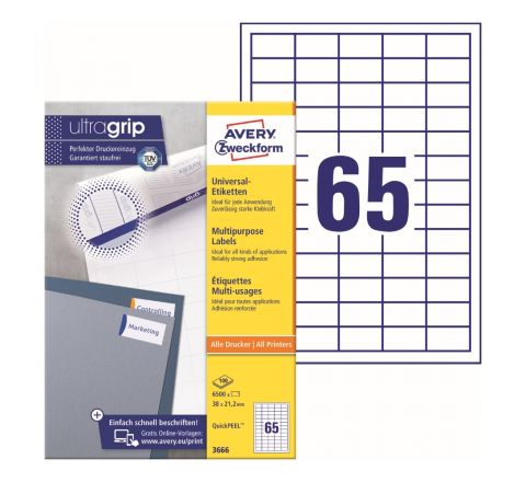 AVERY MULTIPURPOSE LABELS 3666, 38 X 21.2 MM, 65 LABELS PER SHEET, 100 SHEETS IN A PACK, FOR ALL PRINTERS