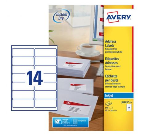 ADDRESS LABELS FOR INKJET PRINTERS J8163-10, 99.1 X 38.1MM LABELS, WHITE, 14 LABELS PER SHEET, 10 SHEETS IN A PACK