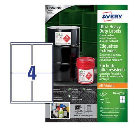 ULTRA HEAVY DUTY INDUSTRIAL WATERPROOF GHS LABELS B7169-50 EXTRA STRONG ADHESIVE, 99 X 139 MM, 4 LABELS PER SHEET, 50 SHEETS IN A PACK