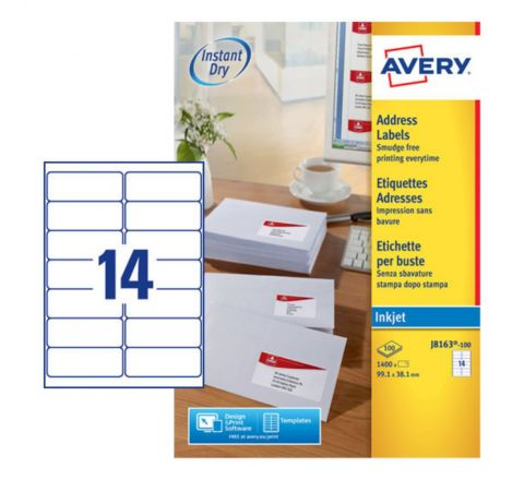 ADDRESS LABELS FOR INKJET PRINTERS J8163-100, 99.1 X 38.1MM LABELS, WHITE, 14 LABELS PER SHEET, 100 SHEETS IN A PACK